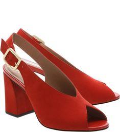 Sandália Nobuck Mood Salto Bloco Royal Red