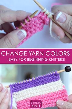 Learn how to Change Yarn Colors when Knitting for Beginning Knitters with Studio Knit - Watch Free Knitting Video Tutorial So helpful! Learn how to Change Yarn Colors when Knitting for Beginning Knitters with Studio Knit - Watch Fre Knitting Help, Knitting Videos, Knitting For Beginners, Knitting Stitches, Knitting Patterns Free, Knitting Yarn, Crochet Patterns, Crochet Ideas, Knitting Needles
