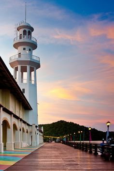 Lighthouse on a Boardwalk - Langkawi, Malaysia.   by Jim Boud, via Flickr