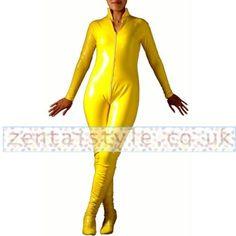 Jumpsuit-styled Yellow PVC Front Zipper Zentai Catsuit [TWL111220092] - £31.79 : Zentai, Sexy Lingerie, Zentai Suit, Chemise