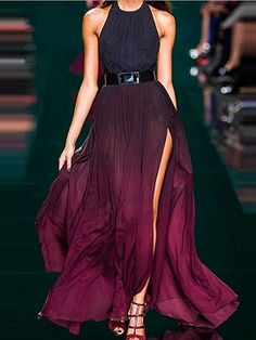 Purple Halter Fade Ruched Backless Maxi Dress