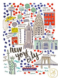 Nyc map print by evelynhenson on etsy evelyn henson new york city map, map Travel Maps, Travel Posters, New York City Map, Ny Map, Evelyn Henson, Voyage New York, Empire State Of Mind, I Love Ny