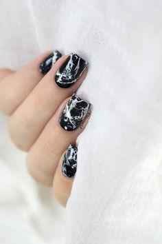 Marine Loves Polish: Black Marble Nails [VIDEO TUTO] - Stone marble nail art tutorial