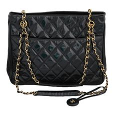 Chanel Quilted Patent Leather Shoulder Bag | From a collection of rare vintage shoulder bags at https://www.1stdibs.com/fashion/handbags-purses-bags/shoulder-bags/