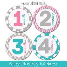 Set of 12 Round Monthly Stickers Chevrons & Dots in Aqua, Pink and Gray Photo Props for Baby Girls by HeadsUpGirlsBaby, $10.00