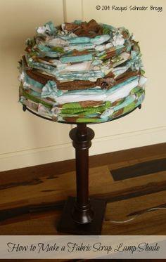 DIY Fabric Scraps Lamp Shade - How to make a fabric lamp shade with leftover scraps of fabric