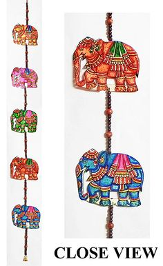 Hand Painted Hanging Elephants with Beads - Perforated Leather Crafts from Andhra Pradesh (Leather))