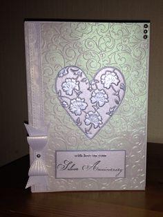 Silver wedding card made using a velum embossed wrap, Sue Wilson bow die & Memory Box Ferrand Heart die.
