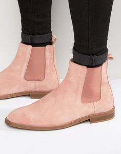 ASOS+Chelsea+Boots+In+Pink+Suede