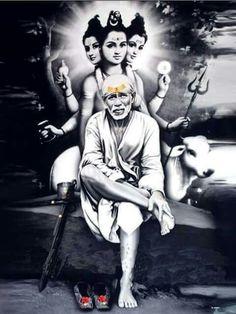 Sai and Dattathraeya Sai Baba Pictures, Sai Baba Photos, God Pictures, Sai Baba Hd Wallpaper, Sai Baba Wallpapers, Saints Of India, Indian Goddess, Goddess Lakshmi, Swami Samarth