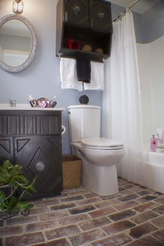 vintage brick bathroom floor- love it