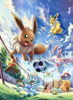 Eevee evolutions Aww they are playing at the park. :)