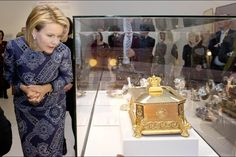 """Queen Mathilde visited the exhibition """"Design Derby: Holland-Belgium"""" at the Design Museum in Ghent. 16th December 2015."""