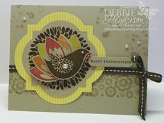 Thanksgiving card using Betsy's Blossom and Blossom Petals Punch, Stampin' Up! products by Debbie Henderson, Debbie's Designs.