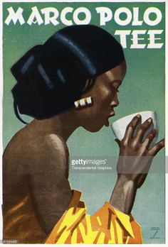 Ad for Marco Polo Tea designed by graphic artist Ludwig Hohlwein, It shows an Asian woman in profile drinking a cup of tea, The poster was originally published in Berlin