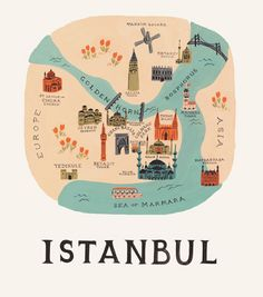 Rifle Paper Co. Istanbul Map Art Prints are now at Northlight Istanbul Map, Istanbul Travel, Art Carte, Travel Illustration, Rifle Paper Co, Map Design, City Maps, Travel Maps, Travel City