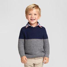 Toddler Boys' Crew Neck Pullover Sweater Cat & Jack™ - Navy & Grey : Target