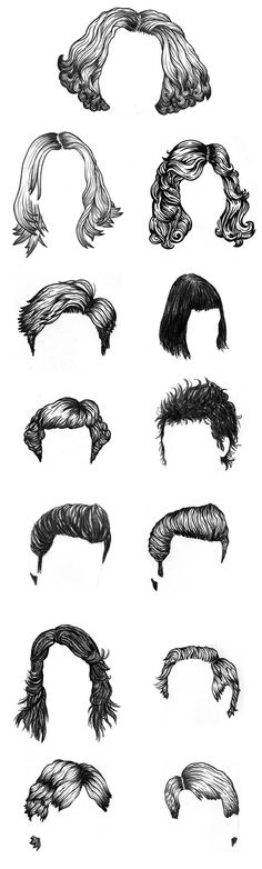 Dan Redding hair drawings Cool Drawings, Hair Drawings, Drawing Hair, Drawing Course, Arts Ed, How To Draw Hair, Brush Lettering, Silhouette, Copic
