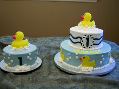 A little Polkadot Blue Yellow Ducky 1st Birthday Little Kiddos