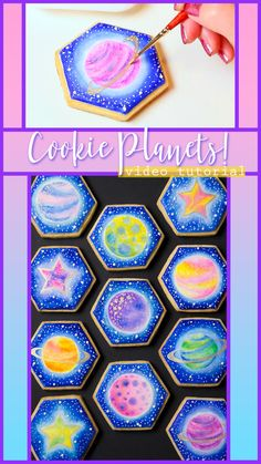 Learn to create your own cookie planet in this video tutorial! Sistema Solar, Birthday Cookies, Birthday Fun, Royal Icing Cookies, Sugar Cookies, Galaxy Cookies, Cookie Designs, Cookie Ideas, Cookie Recipes