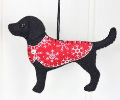 Labrador Christmas ornament, black labrador felt dog ornament