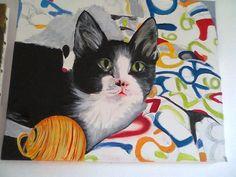 À cerca de dois... quase três anos tive a brilhante ideia de... naqueles momentos em que até parece que não temos nada para fazer... pintar um gato... nada que anteriormente não tivesse feito mas daquela vez queria pintar um meu... E como tenho 3 modelos d...