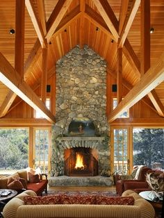 Love the fireplace and ceiling!