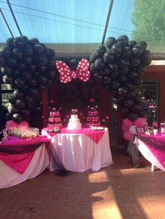 Photography cute baby 1st birthday tutu pink DIY  polka dots one princess fall October Minnie Mouse pearls sash party balloon arch ears cakepops cookies fondant cake