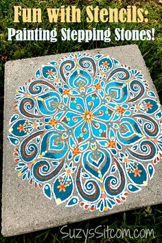 Painted Stepping Stones, Stepping Stone Pathway, Painted Pavers, Painted Pebbles, Decorative Stepping Stones, Stepping Stones For Garden, Homemade Stepping Stones, Decorative Painting Projects, Painting Stencils