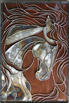 Metals By Laura Knight ~ Incredible Unique Abstract Horse Stained Glass Projects, Stained Glass Patterns, Stained Glass Art, Mosaic Glass, Glue Art, Horse Sculpture, Wall Sculptures, Glass Animals, Horse Art