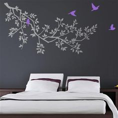 Zazous Grey Spring Branches With Purple Birds Wall Sticker
