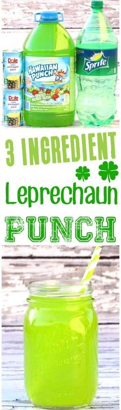 Green Punch Recipe for Kids! This easy St Patricks Day party drink with pineapple juice is a crowd pleaser!