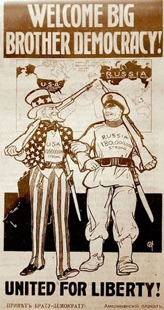 US-Russia Alliance, 1917 (after overthrow of R's monarchy & US entry in WWI)- Treaty of Brest-Litovsk isn't until 1918 Ww1 Propaganda Posters, Ww2 Posters, Political Posters, February Revolution, Republic Pictures, Tsar Nicholas Ii, Military Art, World War I, Wwi