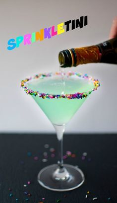 Sprinkletini - Hpnotiq, cake vodka, champagne, and sprinkles. A girly cocktail at its finest! Perfect for a girls' night or bachelorette party!