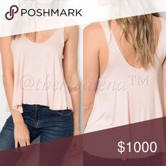 """Casual Peach Cropped Muscle Top Pretty Peach Cropped Muscle Top.  This cropped muscle top is so soft and looks great with your favorite bandeau top underneath!   MADE IN USA!!!  🇺🇸  Fabric: 96% Rayon, 4% Spandex S-M-L Description:  L:22"""" B:40"""" W: 48""""  ‼️ THESE ARE 🇺🇸MADE IN USA🇺🇸  BOUTIQUE QUALITY YOU MAY BUNDLE FOR A DISCOUNT TheresaLena Boutique Tops Tank Tops"""
