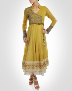 Angrakha style anarkali enriched by the golden embroidered bodice. Shop Now: www.kimaya.in