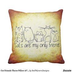 """Cat Friends Throw Pillow 16"""" x 16"""""""