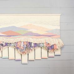 Vintage Weaving Wall Hanging - Textile Fiber Art - Bohemian Woven Wall Art - Pastel Colors