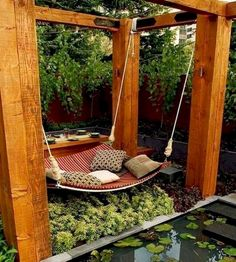 DIY Backyard Hammock Swing ideas-for-my-dream-home-hey-i-can-dream-big Backyard Hammock, Hammock Swing, Diy Hammock, Hammock Ideas, Cozy Backyard, Modern Backyard, Patio Swing, Backyard Retreat, Backyard Playground