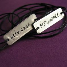 Star Wars Bracelets Han Solo & Princess Leia: The Princess and the Scoundrel - His and hers Stamped Metal Wrap Bracelets on Cotton Cord