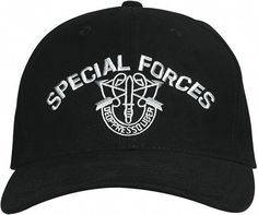 Special Forces Baseball Cap In Black With Embroidered Insignia