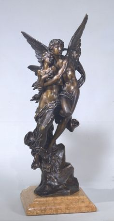 """""""The Abduction of Psyche"""" by Henri Godet. c1896, bronze sculpture on a marble stand. Based on William-Adolphe Bouguereau's painting of the same title.  From the collection of The Dahesh Collection, NY. On loan (2015) to The Flagler Museum, Palm Beach, FL."""