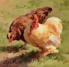 Lovebirds by Linda Volrath Oil ~ 6 x 6 Rooster Painting, Rooster Art, Chicken Painting, Chicken Art, Sheep Art, Farm Art, Pet Chickens, Pictures To Paint, Animal Paintings
