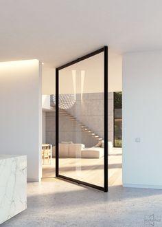 """Steel look"" glass pivot door with central axis pivoting hinge. #portapivot"