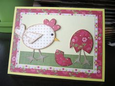 handmade card ... Paper Pieced  ... lovely patterned papers ... ovals and hearts ... chicken watching an Easter egg hatching ... fun card!!