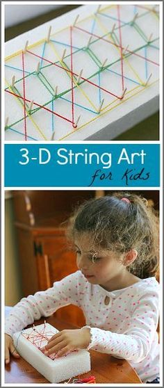 3-D String Art Project for Kids using styrofoam and toothpicks- Create designs and patterns in this unique art activity. Great way to reuse packaging materials! (Earth Day)