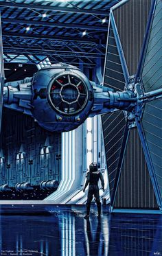 <3 this render of a Imperial Star Destroyer's hanger with an x-wing and pilot inside. #starwars