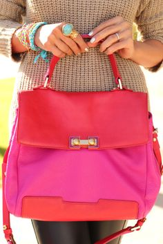 Marc Jacobs colorblock satchel + YSL arti ring
