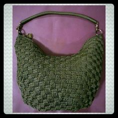 The SAK Vintage Crochet Hobo Bag Army Green, Excellent Condition, No Stations, Marks,etc!! The Sak Bags Hobos