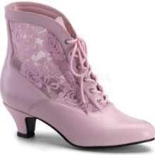 Victorian Dame Baby Pink Ankle Boot at Gothic Plus - Gothic Clothing, Jewelry, Goth Shoes, Boots & Home Decor Pink Ankle Boots, Baby Boots, Ankle Booties, Heeled Boots, Bootie Boots, Shoe Boots, Women's Boots, Laced Boots, Sexy Stiefel
